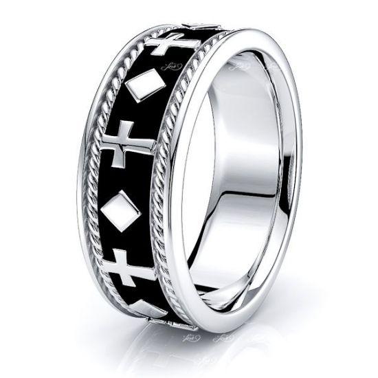 Cameron Religious Mens Hand Braided Wedding Band