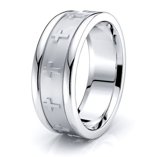 Adrian Religious Handmade Mens Wedding Band