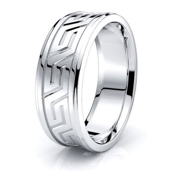 Stellan Handmade Greek Key Mens Wedding Ring
