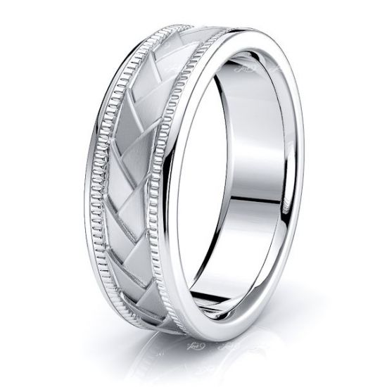 Amos Hand Woven Mens Wedding Band
