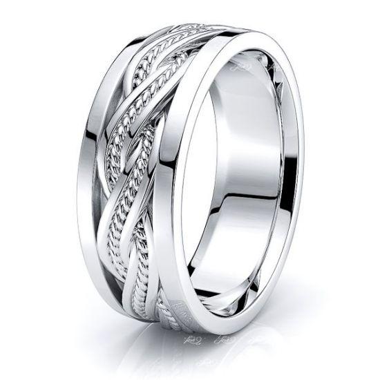 Bear Mens Hand Braided Wedding Ring