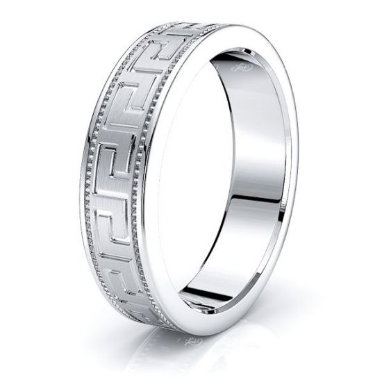 Shepherd 5mm Greek Key Mens Wedding Band