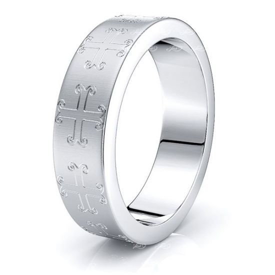 Sullivan Solid 7mm Cross Mens Wedding Band