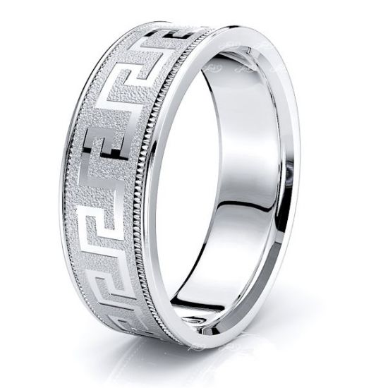 Miriam 7mm Greek Key Mens Wedding Ring