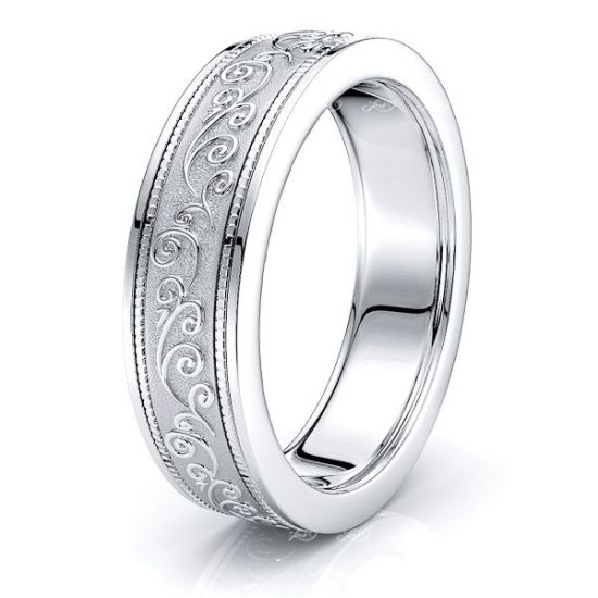 Solid 6.5mm Antique Floral Mens Wedding Band