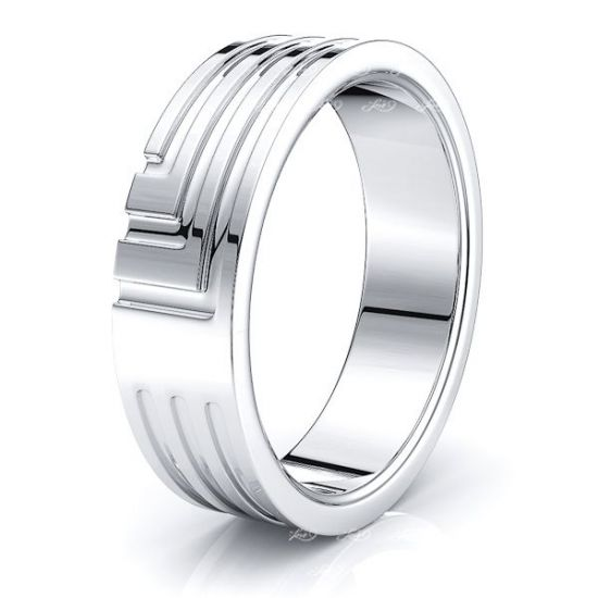 Cosmo Solid 7mm Mens Wedding Ring
