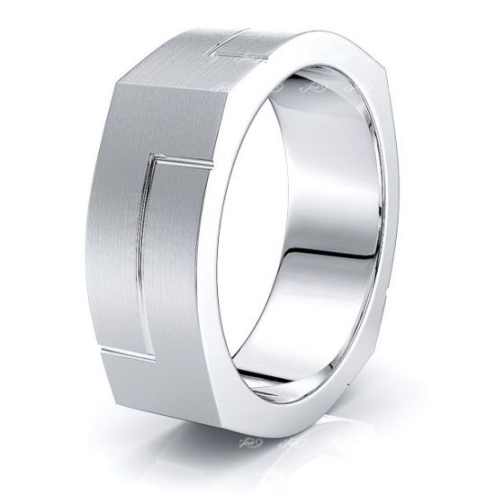 Solid 7mm Square Mens Wedding Band