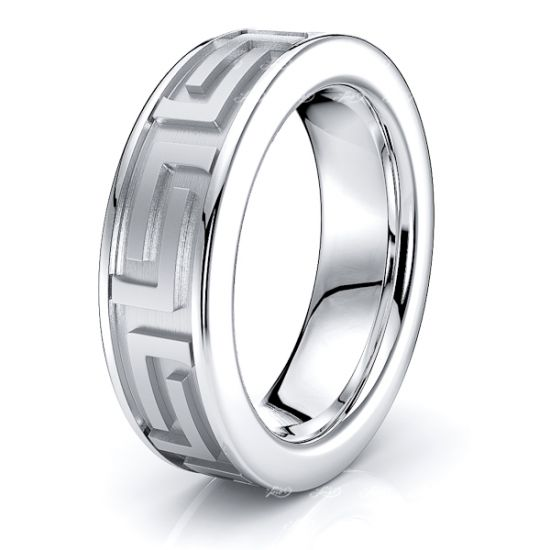 Posey 7mm Greek Key Mens Wedding Ring