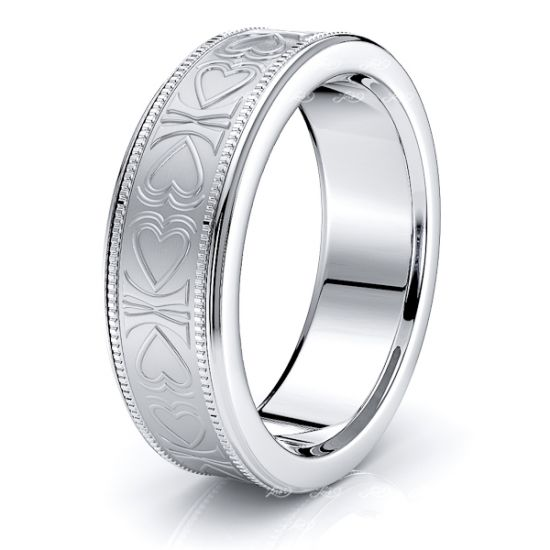 Althea Solid 6mm Heart Mens Wedding Ring
