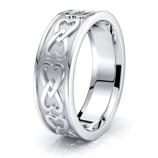 Daisy Heart Mens Celtic Wedding Ring
