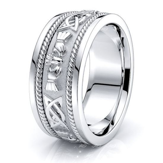 Brendan Claddagh Mens Celtic Wedding Ring