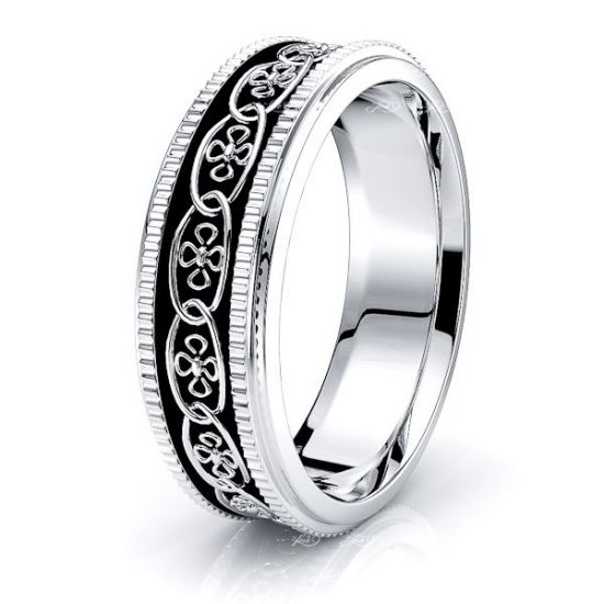 Arian Floral Mens Celtic Wedding Band