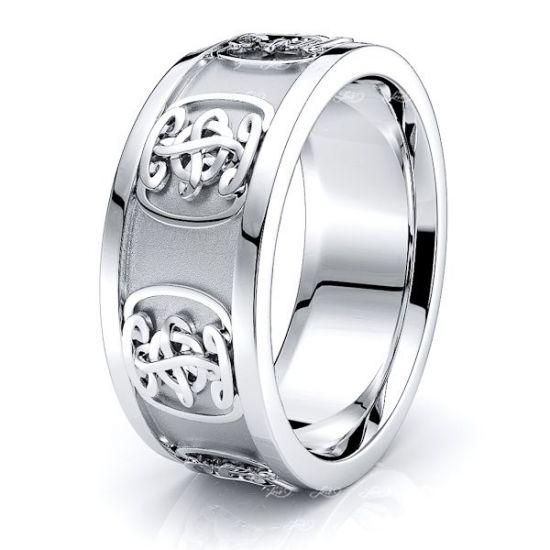 Aislin Celtic Symbol Mens Wedding Band