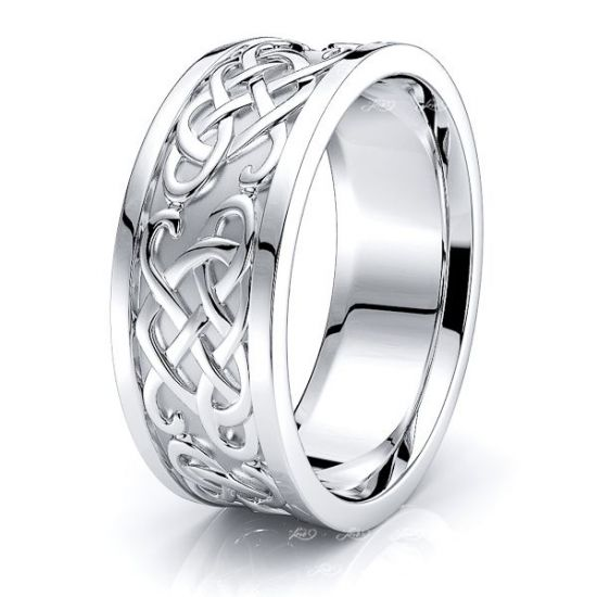 Aednat Heart Mens Celtic Wedding Band
