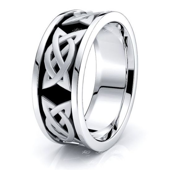 Aerona Celtic Knot Mens Wedding Band