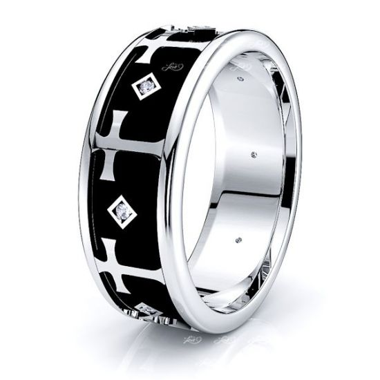Isla Cross Christian Mens Diamond Wedding Ring