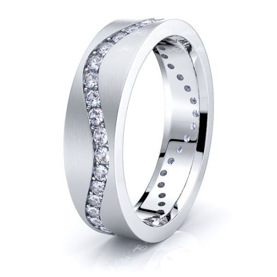 Adeline Wavy Mens Diamond Wedding Ring