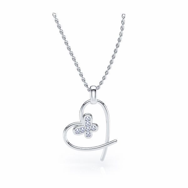 Dione Heart and Butterfly Diamond Pendant