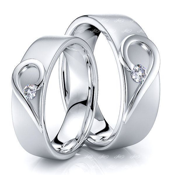 0.14 Carat 6mm Matching Heart His and Hers Diamond Wedding Band Set