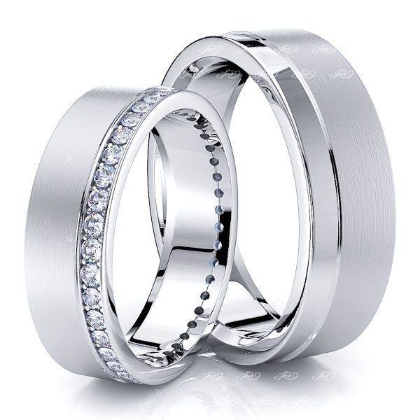 0.60 Carat 6mm Grooved Matching His and Hers Diamond Wedding Ring Set
