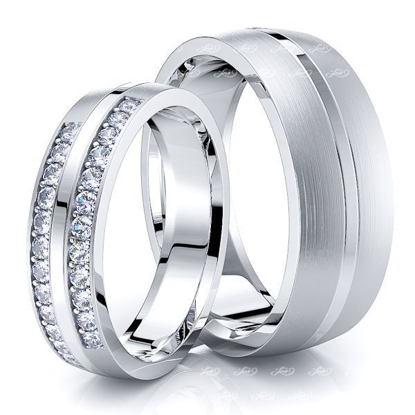 0.36 Carat Matching 7mm His and 5mm Hers Diamond Wedding Band Set