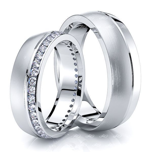 0.60 Carat 6mm Elegant Matching His and Hers Diamond Wedding Ring Set
