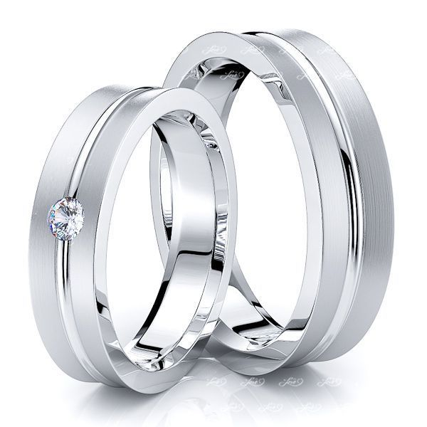 0.08 Carat 5mm Concave Matching His and Hers Diamond Wedding Band Set