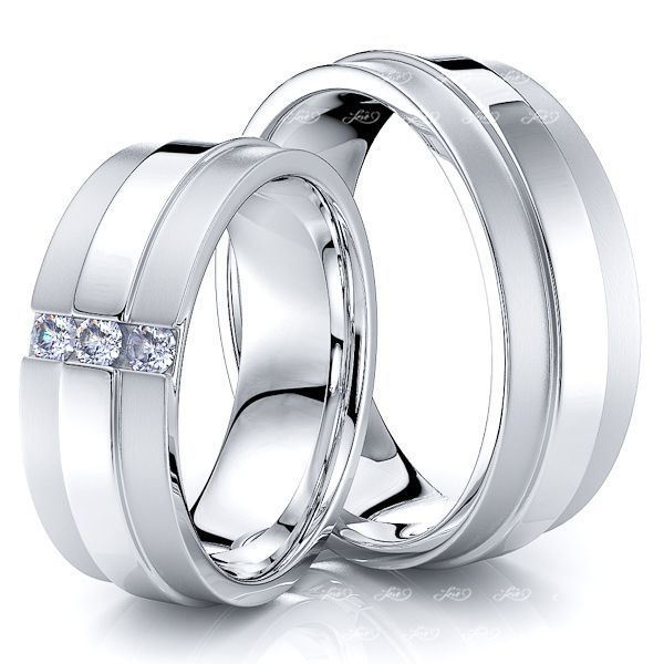 0.12 Carat 7.5mm Raised Center His and Hers Diamond Wedding Ring Set