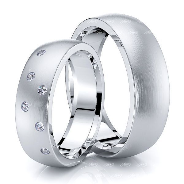 0.12 Carat 6mm Basic Matching His and Hers Diamond Wedding Ring Set