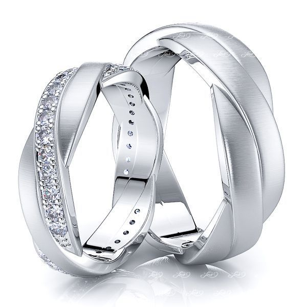 0.66 Carat 6mm Fancy Designer His and Hers Diamond Wedding Band Set