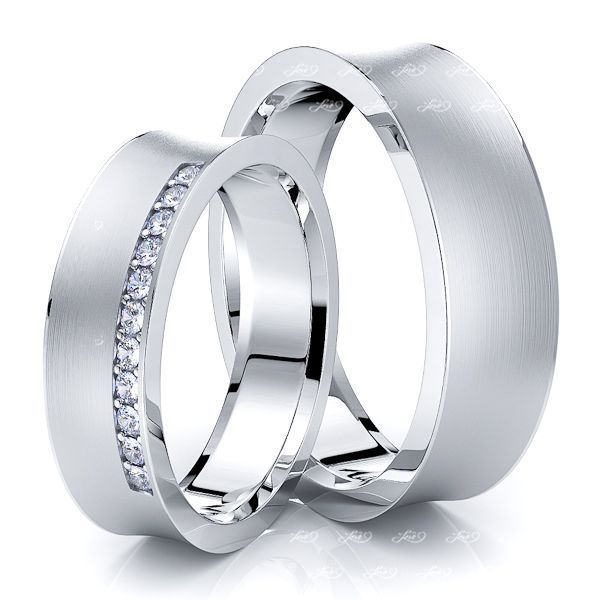 0.22 Carat 6mm Concave His and Hers Diamond Wedding Ring Set