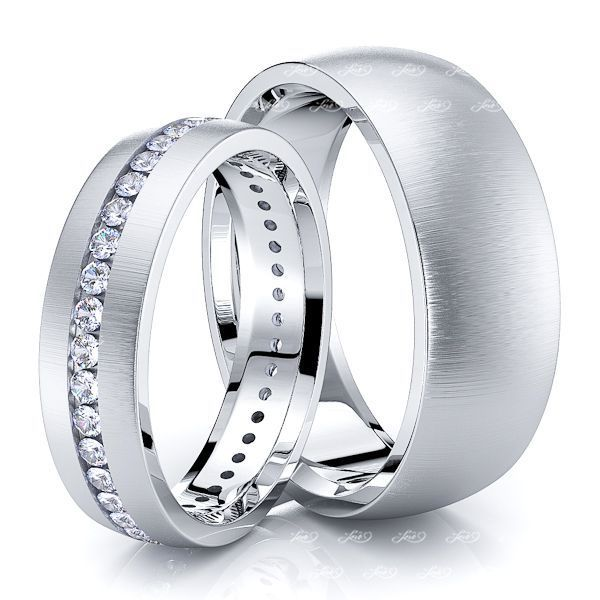 0.60 Carat Classic 7mm His and 5mm Hers Diamond Wedding Band Set