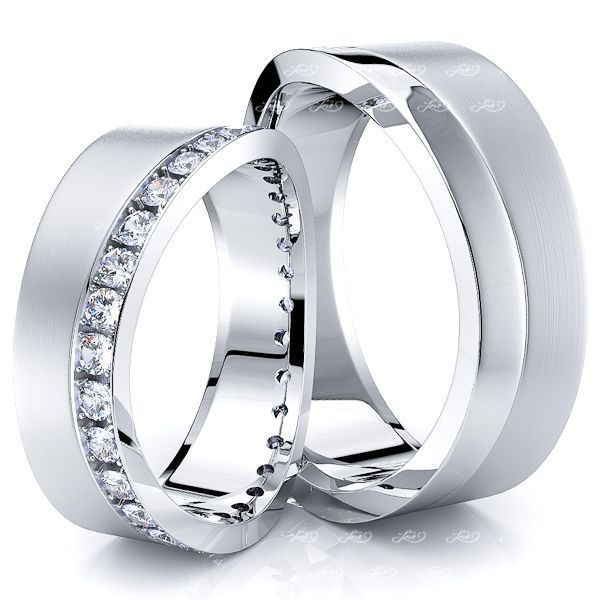 0.80 Carat Wavy Shaped Edge 7mm His and Hers Diamond Wedding Ring Set