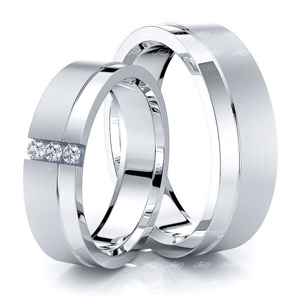 0.09 Carat Three Stone 6mm His and Hers Diamond Wedding Band Set