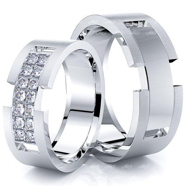 0.28 Carat Belt Buckle 7mm His and Hers Diamond Wedding Ring Set