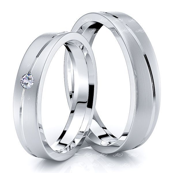 0.05 Carat Stylish Diagonal 4mm His and Hers Diamond Wedding Band Set