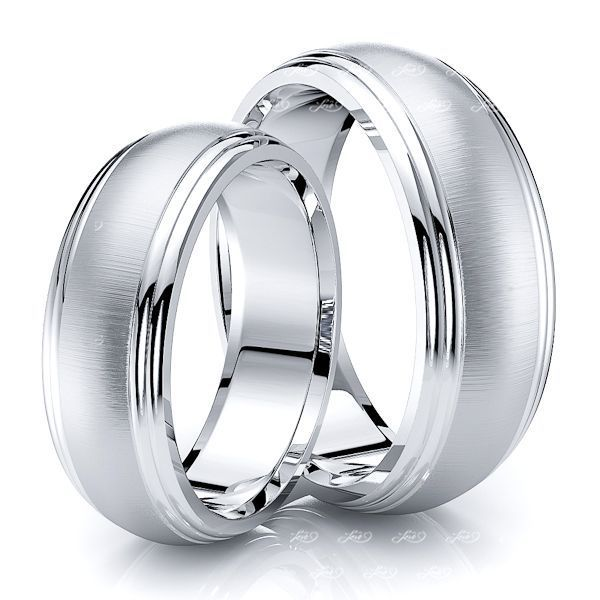 7mm Double Step Edge Matching His and Hers Wedding Band Set