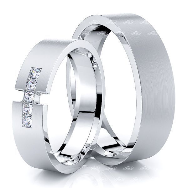 0.10 Carat 5mm Desinger Matching His and Hers Diamond Wedding Ring Set