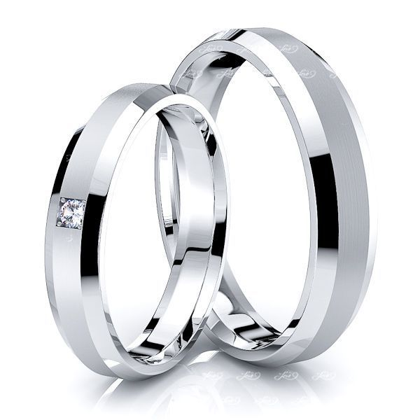 0.03 Carat 4mm Beveled Edge His and Hers Diamond Wedding Ring Set