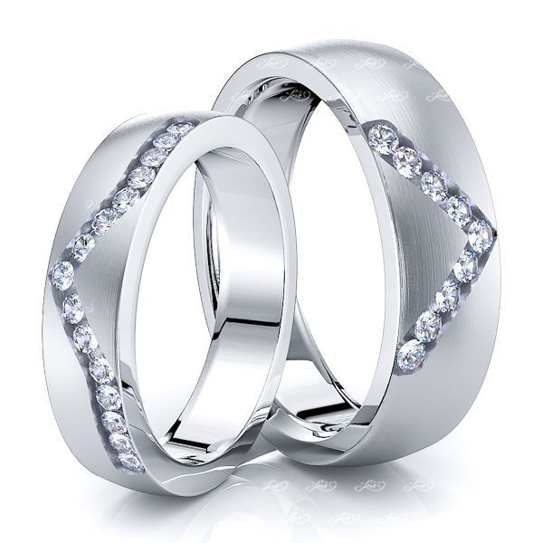 0.36 Carat V-Cut 6mm His and 5mm Hers Diamond Wedding Ring Set