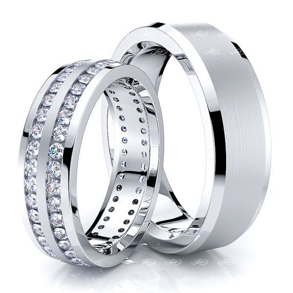 1.60 Carat Stylish Designer 6mm His and Hers Diamond Wedding Band Set