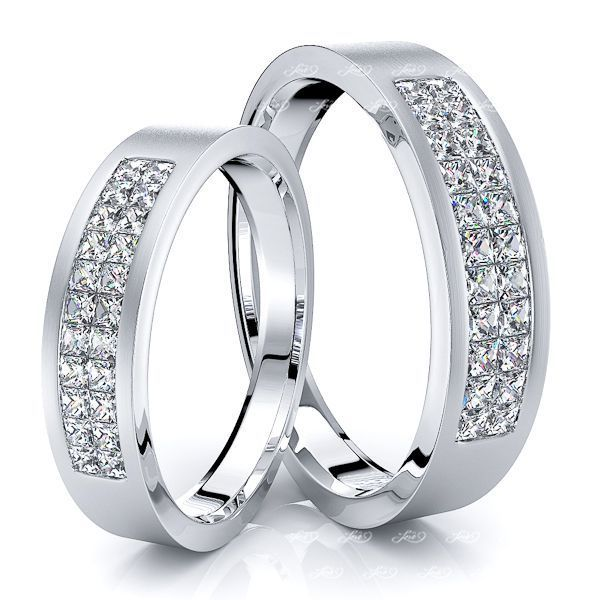 1.32 Carat 5mm Matching His and Hers Diamond Wedding Ring Set