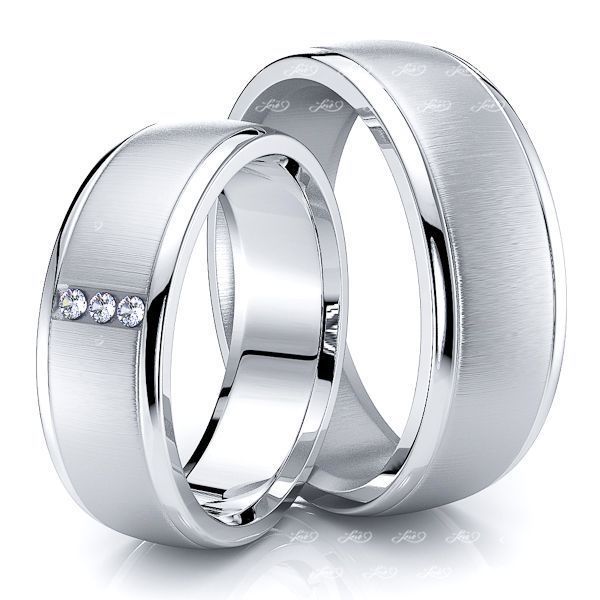 0.06 Carat 7mm Classic Round His and Hers Diamond Wedding Band Set