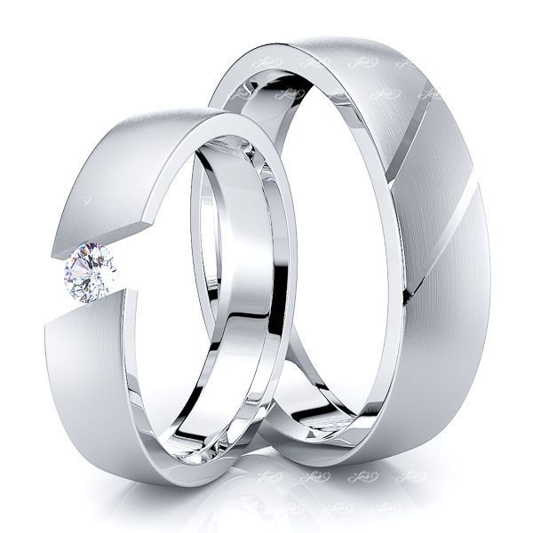 0.10 Carat 5mm Fancy His and Hers Diamond Wedding Ring Set