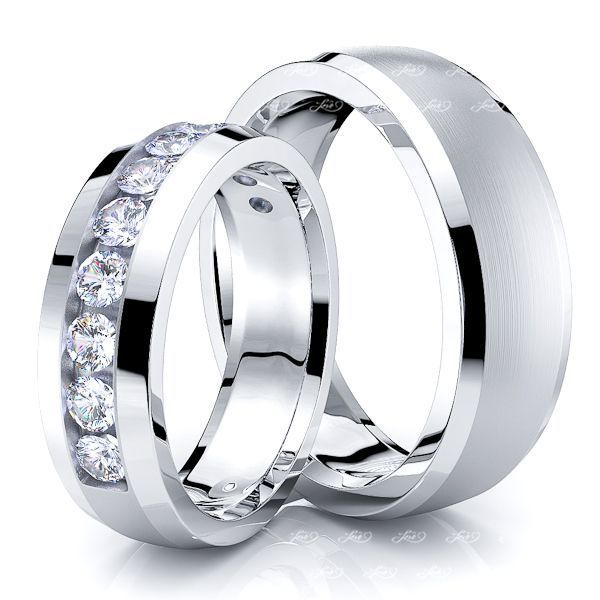 0.77 Carat 6mm Bestseller His and Hers Diamond Wedding Band Set