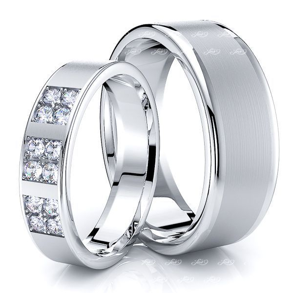 0.24 Carat Traditional 7mm His and 5mm Hers Diamond Wedding Band Set