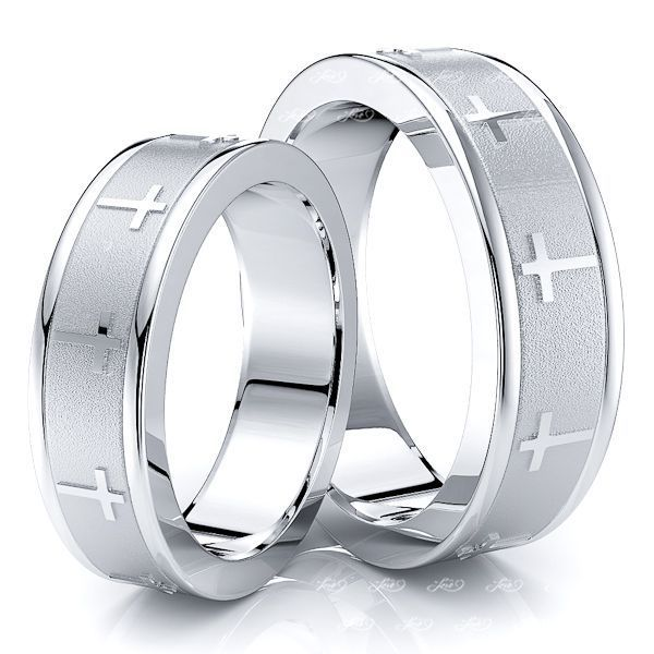 6mm Cross Religious Matching His and Hers Wedding Ring Set