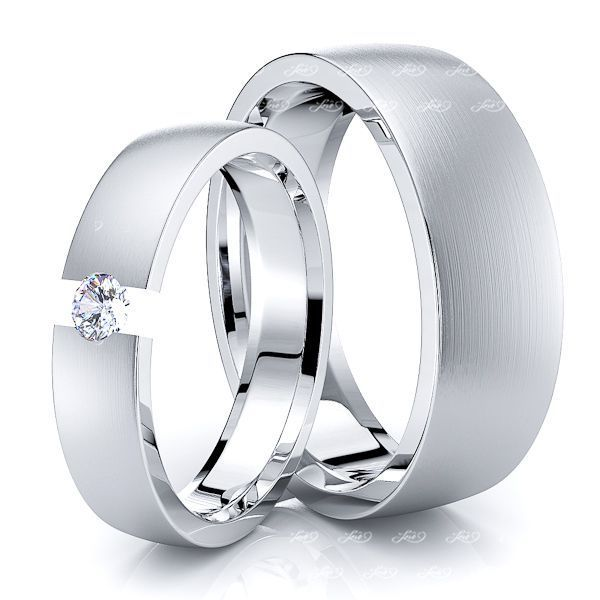 0.10 Carat Fashionable 7mm His and 5mm Hers Diamond Wedding Ring Set