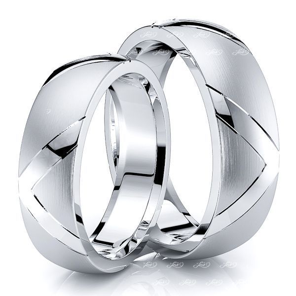 6mm V Design Matching His and Hers Wedding Band Set