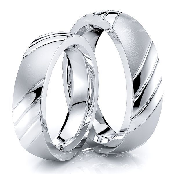 5mm Triple Diagonal Cut Matching His and Hers Wedding Band Set